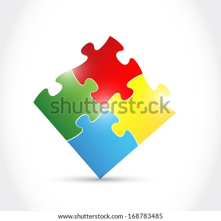 colorful puzzle illustration over a white background - stock photo