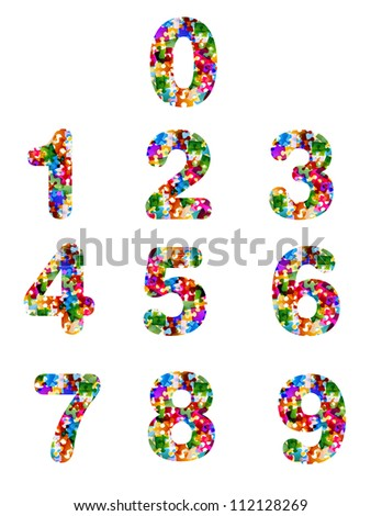 colorful puzzle numbers