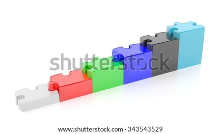 Colorful puzzle pieces as stair or graph bars, isolated on white. - stock photo