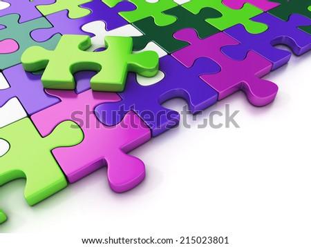 colorful puzzle pieces. 3d illustration - stock photo