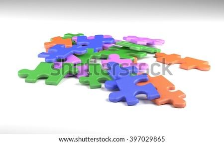 colorful puzzle pieces 3d illustration - stock photo