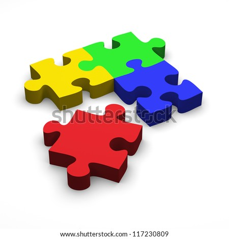 Colorful Puzzle Pieces /3D render - stock photo