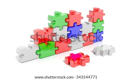 Colorful puzzle pieces forming wall, isolated on white. - stock photo