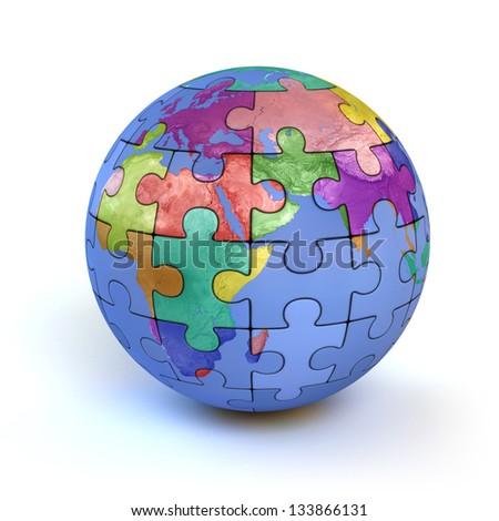 colorful puzzle planet earth - diversity 3d concept - stock photo