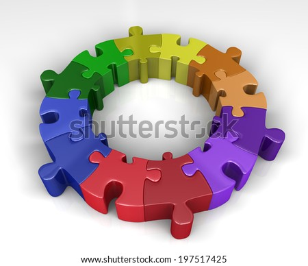 Colorful puzzle ring  - stock photo