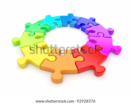 Colorful puzzle ring 3D. Team concept. Isolated on white background - stock photo