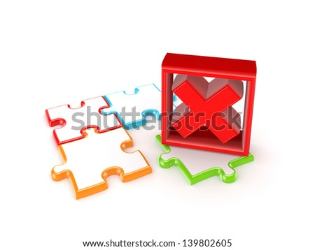 Colorful puzzles and red cross mark.Isolated on white background.3d rendered. - stock photo