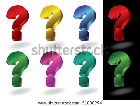 colorful question marks in 3d - stock photo