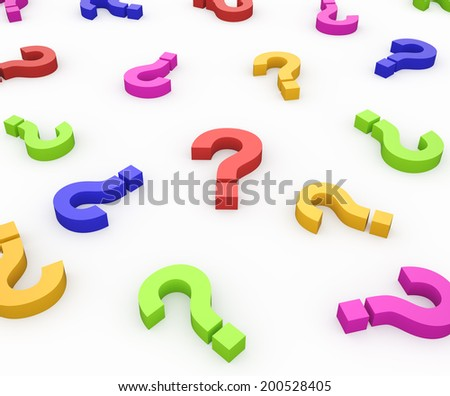 Colorful Question Marks , isolated on white , 3d render - stock photo