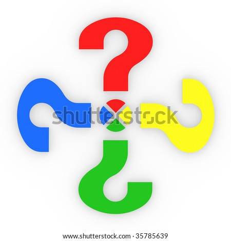 Colorful Question Marks Share - stock photo