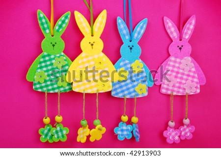 colorful rabbits as easter decoration