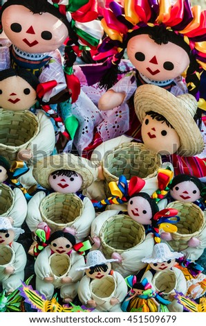 Colorful Rag Dolls, Mexican Hand Crafted Souvenirs - stock photo