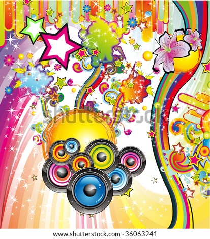 Colorful Rainbow Abstract Music Background for Disco flyers