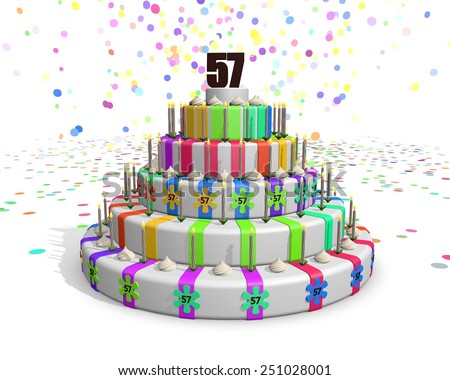 Colorful rainbow cake. Confetti falling down. Decorated with flower candies, candles and cream. On top a chocolate number 57. Ideal for invitations for someones birthday or anniversary - stock photo