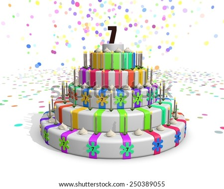 Colorful rainbow cake - on top number 7 - stock photo