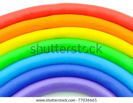Colorful rainbow clay toy plasticine - stock photo