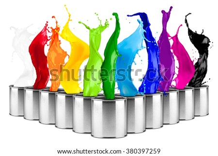 colorful rainbow color dose splash collage isolated on white background - stock photo