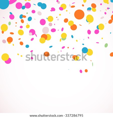 Colorful rainbow confetti on white background with space for your text. Unusual greeting card with multicolored confetti.