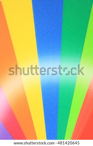 Colorful rainbow gradation of origami paper