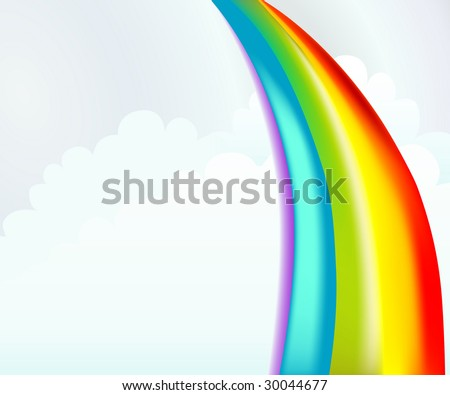 Colorful rainbow illustration with cartoon clouds. This background template is great for summer camp programs or bible stories. - stock photo