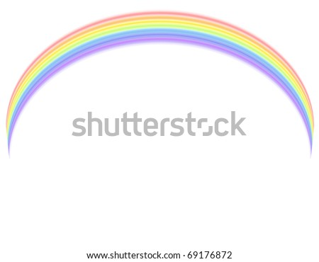 Colorful rainbow over white background.