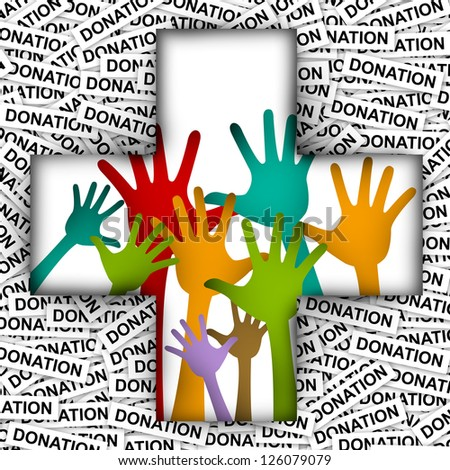 Colorful Raised Hands in Cross Sign For Volunteer and Voting Concept in Donation Label Background - stock photo