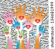 Colorful Raised Hands With Red Heart Inside For Volunteer Or Voting Concept in Donation Label Background - stock photo