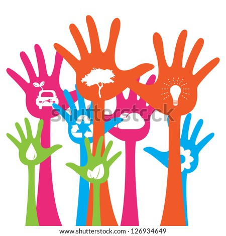 Colorful Raised Hands With White Icon Inside For Think Green Or Sustainable Development & Environment Concept Isolated on White Background - stock photo