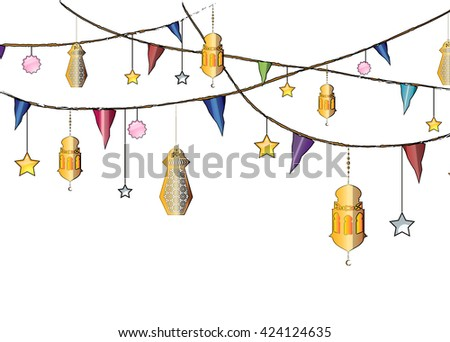 Colorful Ramadan eid lanterns hanging from the ropes with decorations, stars and holiday flags for Eid Al-Adha eid festival. - stock photo