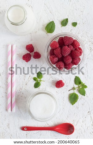 Colorful Raspberry Milk Drink Set on a White Background. Overhead View - stock photo