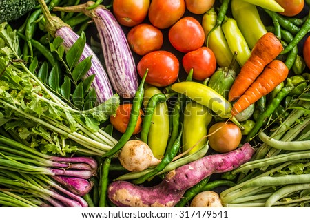 Colorful raw vegetables in Sri Lank