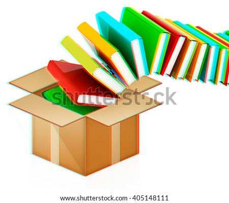 colorful real books in cardboard box on a white background. 3D illustration. Anaglyph. View with red/cyan glasses to see in 3D. - stock photo