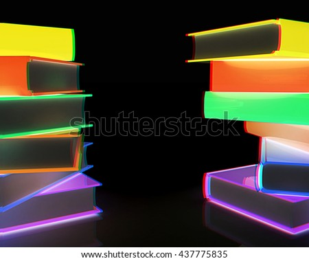 colorful real books on a black background. 3D illustration. Anaglyph. View with red/cyan glasses to see in 3D. - stock photo