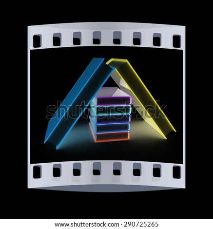 colorful real books on a black background. The film strip - stock photo