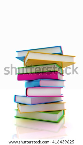 colorful real books on a white background. 3D illustration. Anaglyph. View with red/cyan glasses to see in 3D. - stock photo