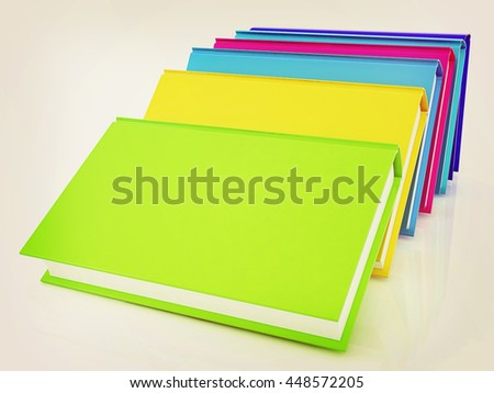 colorful real books on a white background. 3D illustration. Vintage style. - stock photo