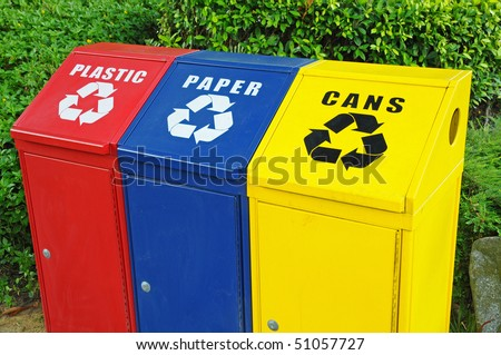 Colorful Recycle Bins Closeup - stock photo