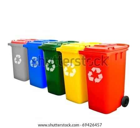 Colorful Recycle Bins Isolated - stock photo