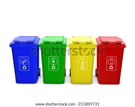 Colorful recycle bins isolated on white background