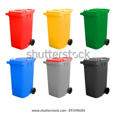 Colorful Recycle Bins Isolated Over White Background. - stock photo