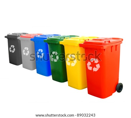 Colorful Recycle Bins Isolated With Recycle Sign For Green World Concept. - stock photo
