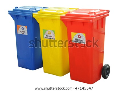 Colorful Recycle Bins Isolation