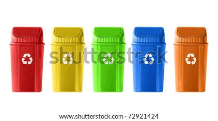 Colorful Recycle Bins on white background - stock photo