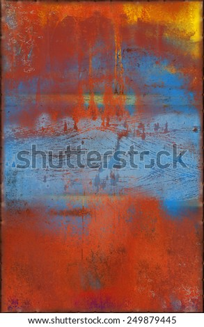 Colorful Red and Blue Metal Background with Rusty Seams Along Edges (Part of Colorful Metal Textures set, which includes 12 textures that fit together perfectly to form a huge image) - stock photo