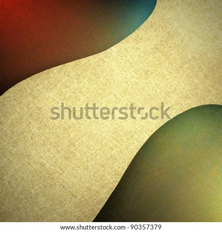 colorful red and gold abstract background with blue accent design and vintage grunge texture with contemporary off-white or beige colored ribbon striped banner with copy space for text or title - stock photo