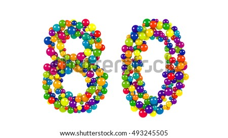 Colorful red, blue, yellow, green and blue balloons forming the number 80 over isolated background