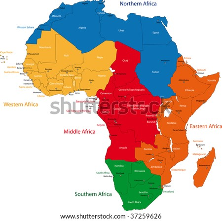 Colorful regions of Africa with countries and capital cities - stock photo