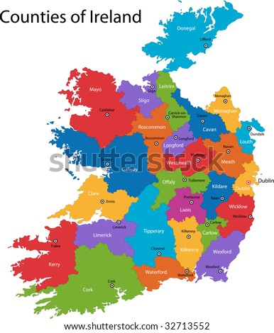 Colorful Republic of Ireland map with regions and main cities - stock photo