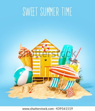Colorful retro beach hut , lemonade, deck chairs and ice cream on a summer beach. Unusual summer 3D illustration. Summer concept illustration - stock photo