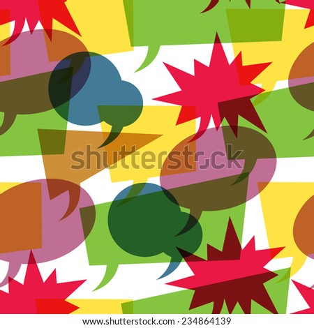 Colorful retro speech bubbles seamless. Raster version - stock photo